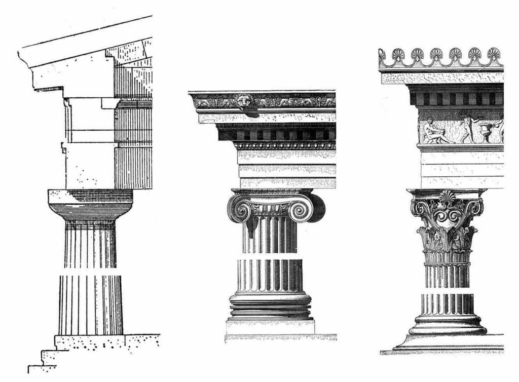 Zeichnungen verschiedener Säulenordnungen