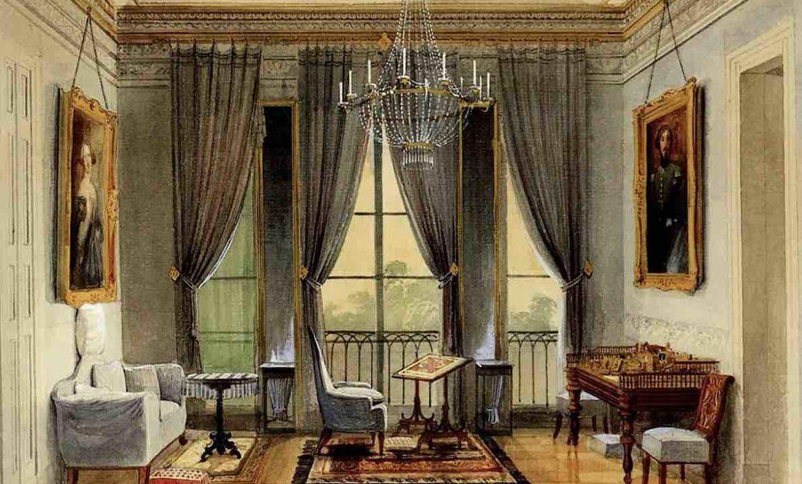 Zimmer mit Balkon im Stil des Biedermeier