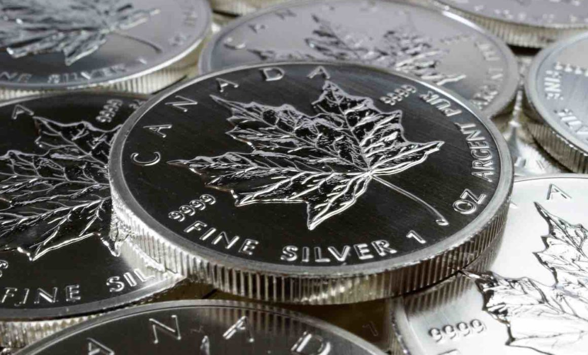 Abbild der kanadischen Silbermünze Maple Leaf