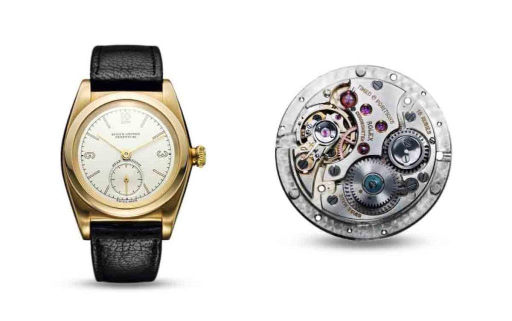 Rolex Oyster Perpetual als Armbanduhr neben seinem Uhrwerk