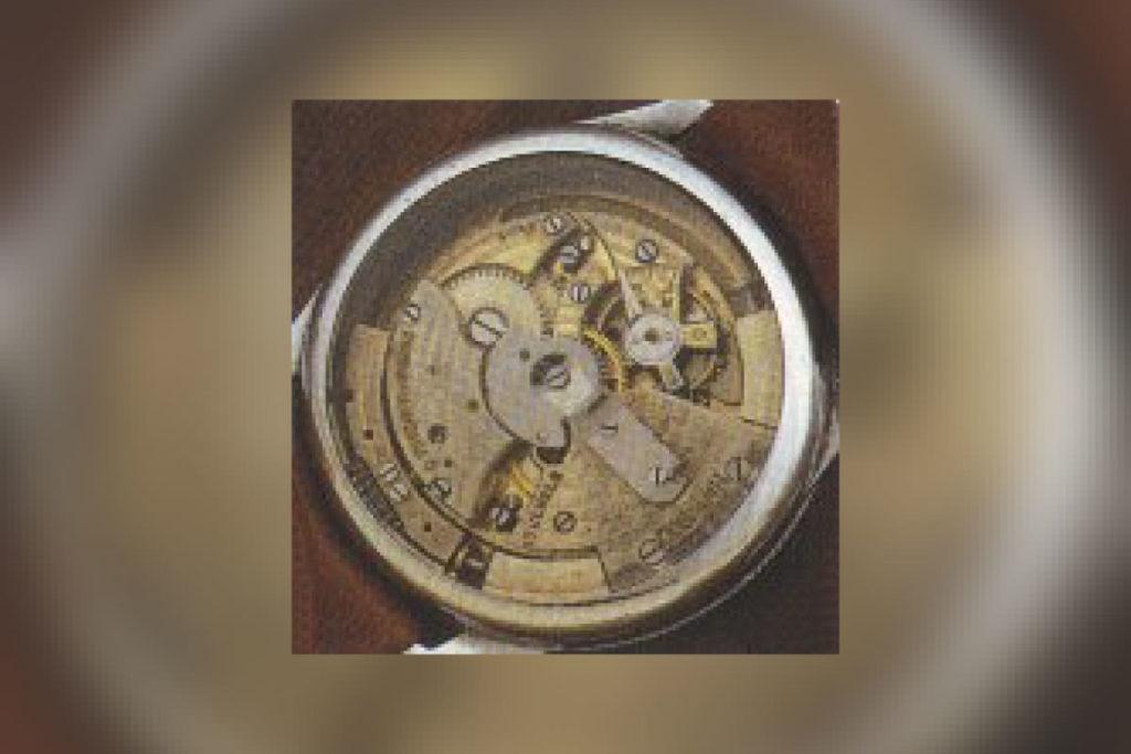 Uhrwerk einer Armbanduhr mit Hammeraufzug