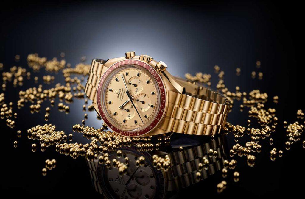 Seltene goldene Armbanduhr von Omega