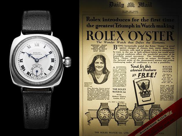 Rolex Armbanduhr neben einer alten Rolex Werbeanzeige