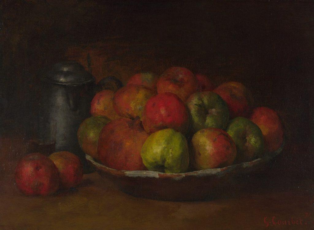Gemälde mit Schale voller Äpfel und Granatäpfel
