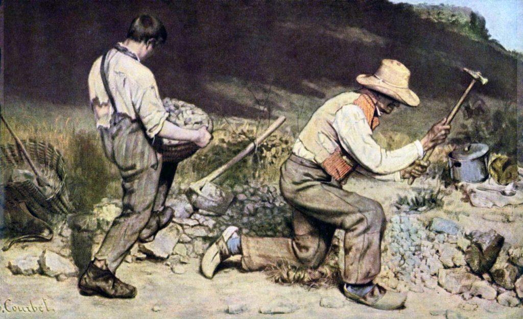 Gemälde mit zwei arbeitenden Steinklopfern