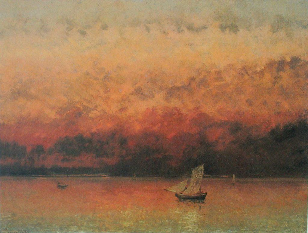Gemälde mit einem See, darauf ein Segelboot in orangener Abendstimmung