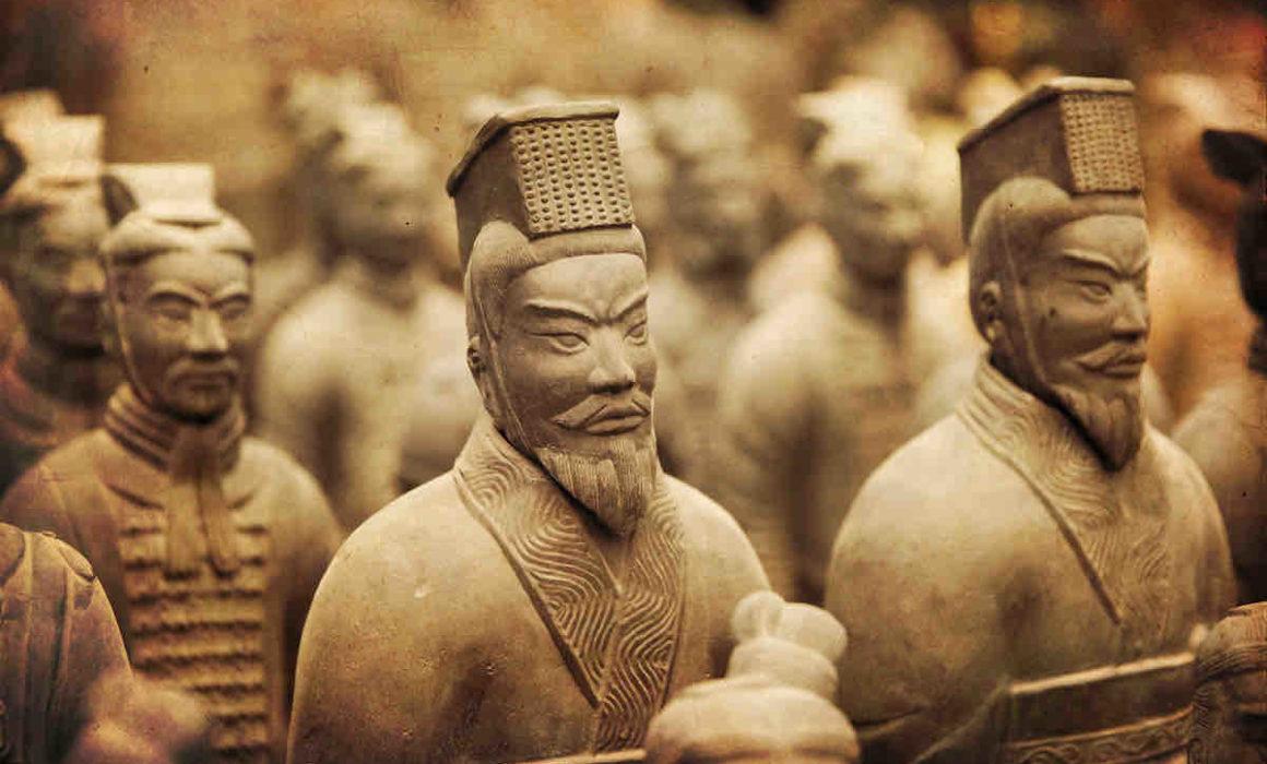 Nahaufnahme der chinesischen Terrakotta-Armee