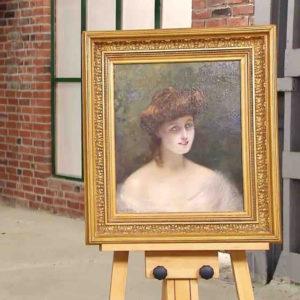Gemälde mit Frauenportrait von Edouard Sain