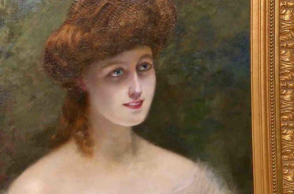 Gemälde mit Frauenportrait von Edouard Sain im Detail