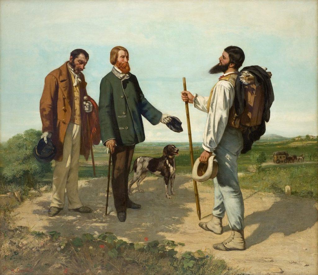 Gemälde mit drei Wanderern und einem Hund