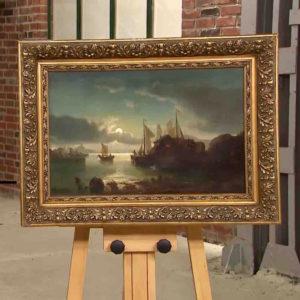 Ölgemälde mit Hafenmotiv von Theodor Genenger