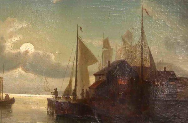 Nahaufnahme Ölgemälde mit Hafenmotiv von Theodor Genenger