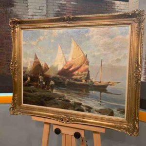Gemälde mit Schiffen