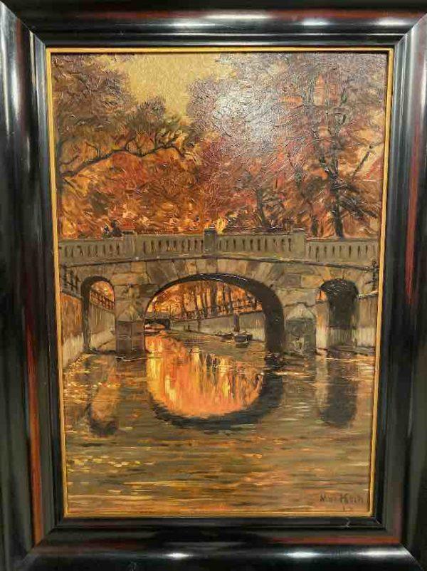 Nahansicht Gemälde mit Brücke von Max Koch