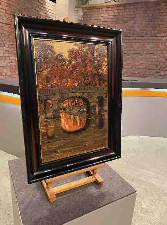 Gemälde mit Brücke von Max Koch von der Seite