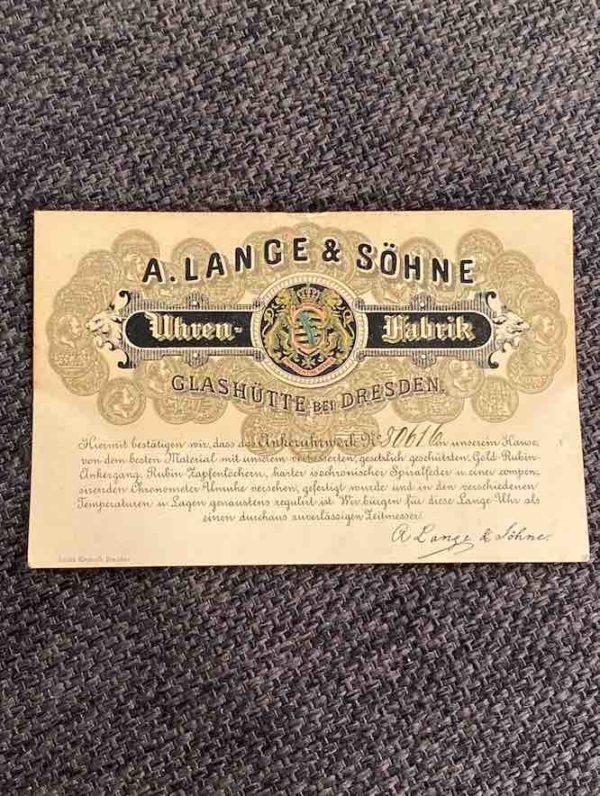 Zertifikat der A. Lange & Söhne Taschenuhr