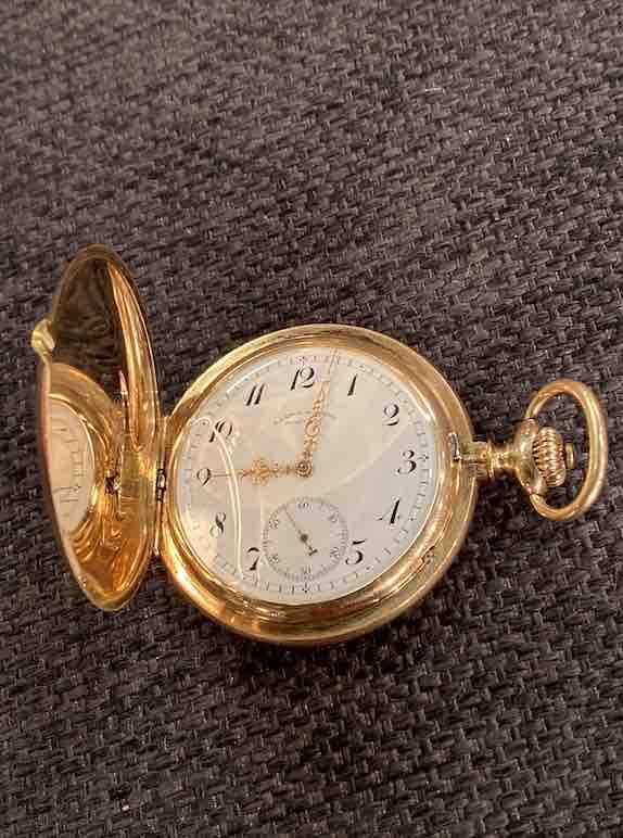Goldene A. Lange & Söhne Taschenuhr von oben