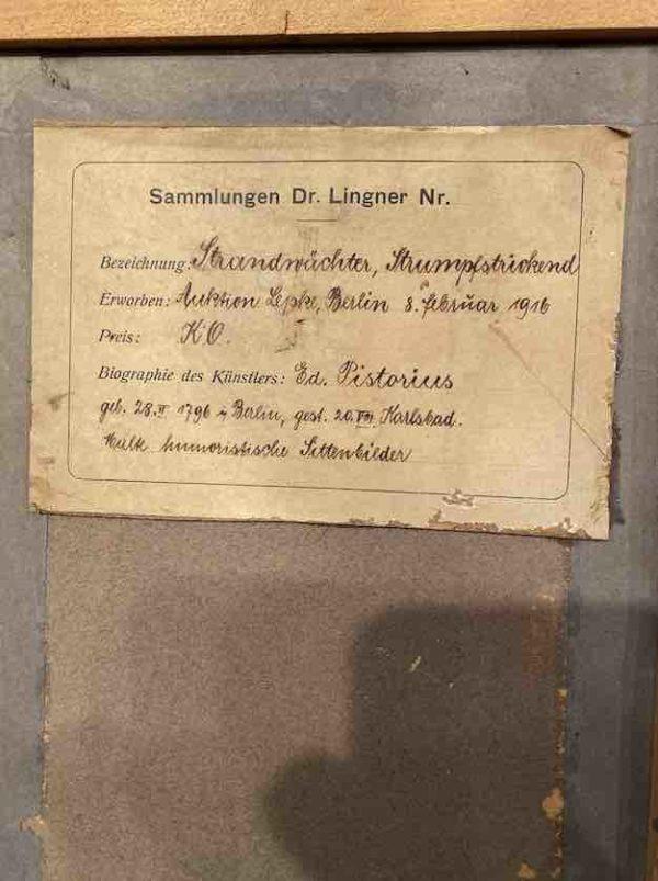 Kleines Ölgemälde von Pistorius, Beschriftung auf der Rückseite