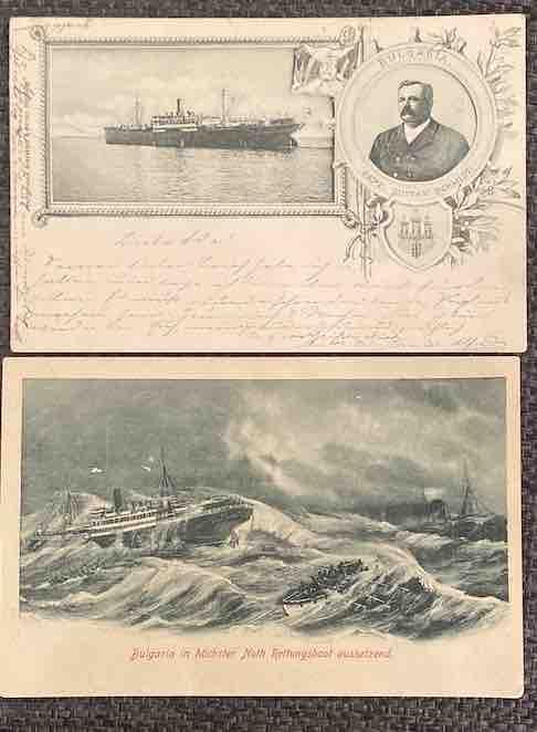 Zwei Postkarten mit Erinnerungen an die Bulgaria