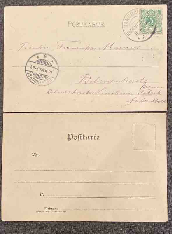 Rückseite der zwei Postkarten in Erinnerung an die Bulgaria