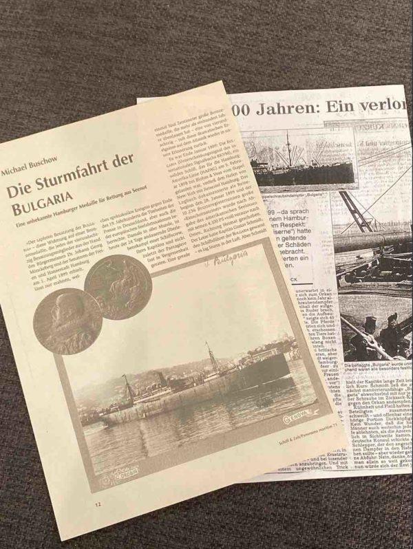 Zeitungsausschnitt zur Dokumentation der Bulgaria