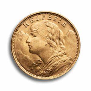 20 Franken Gold Vreneli Rueckseite