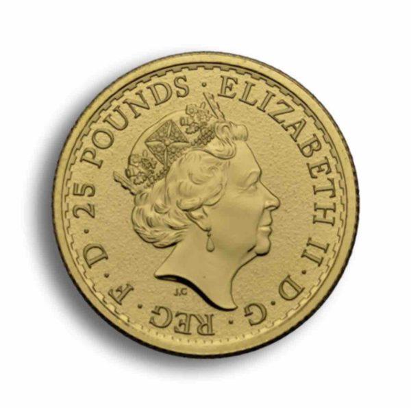 25 P0fund Britannia Gold 1/4 Unze Vorderseite