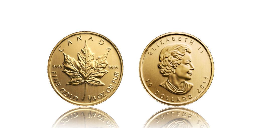 Vorder- und Rückseite eines goldenen Maple Leaf