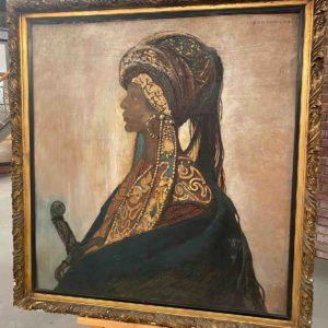Ölgemälde mit Bild einer Kriegerin