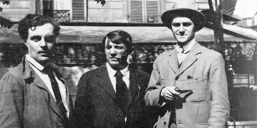 Schwarzweißfoto von Picasso mit Freunden
