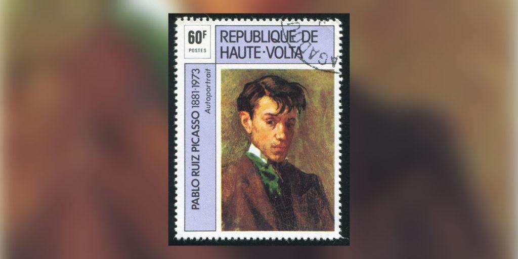 Briefmarke mit Bild Picassos