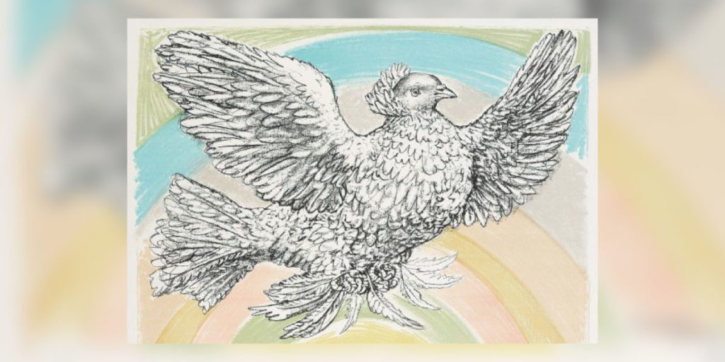 Bild mit Taube und buntem Hintergrund