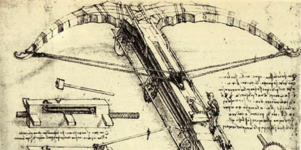 Zeichnung auf Papier mit Armbrust